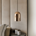 1 Light Bedroom Pendant Simple Gold Finish Hanging Ceiling Lamp with Bell Metal Shade