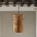 Cylindrical Resin Pendant Light Industrial 1 Light Stairway Hanging Ceiling Lamp in Brown with Timber Pile Design