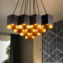 Black 7/10/11 Heads Ceiling Lighting Countryside Iron Hexagon Chandelier Lamp with Honeycomb Design