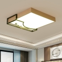 Metallic Square Flush Mounted Lamp Modern LED Ceiling Flush Light with Flower Deco in Gold and Black