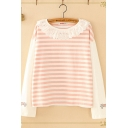 Fancy Cute Long Sleeve Round Neck Lace Trimmed Striped Cat Embroidered Relaxed Tee for Girls