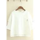 Cool Street Girls White Three-Quarter Sleeve Round Neck Japanese Letter Fish Embroidered Oversize T Shirt