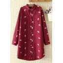 Casual Fashion Girl Long Sleeve Lapel Collar Button Down All Over Rabbit Pattern Longline Oversize Shirt