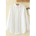 Chic Womens Long Sleeve Lapel Collar Button Down Pocket Patched Striped Curved Hem Loose Shirt