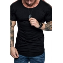 Simple Mens Short Sleeve Round Neck Stripe Printed Slim Fitted T Shirt