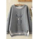 Casual Girls Long Sleeve Round Neck Rabbit Printed Slit Side Long Oversize Pullover Sweatshirt
