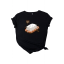 Fancy Girls Roll Up Sleeve Round Neck Cartoon Printed Loose Fit T Shirt