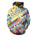 Popular Long Sleeve 3D Anime Oil Painting Printed Relaxed Fit Hoodie in Yellow