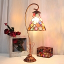 Metal Gooseneck Table Light Decorative 1 Head Small Desk Lamp in Pink/White/Red with Carved Base
