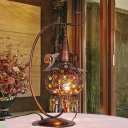 1 Bulb Lantern Task Light Art Deco Metal Night Table Lamp in Rust with Curved Arm