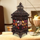 Bronze Tower Task Light Art Deco Metal 1 Head Small Desk Lamp with Colorful Crystal Bead