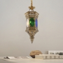 3 Bulbs Metal Chandelier Light Arabian Brass Hollow Restaurant Ceiling Hang Fixture