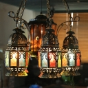 Lantern Restaurant Chandelier Light Fixture Turkish Metal 6 Bulbs Bronze Hanging Lamp