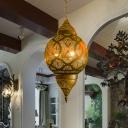 Metal Brass Chandelier Light Fixture Vase/Oval/Globe 3 Bulbs Arabic Hanging Lamp Kit for Restaurant