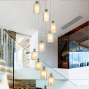Cylinder/Globe Multi Light Pendant Modernism Amber Glass 10 Bulbs Silver LED Ceiling Lamp for Stair