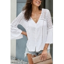 Ladies' Stylish Street Solid Color Bell Sleeve V-Neck Button Down Lace Patched Loose Fit Shirt