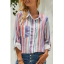 Ladies' Pretty Chic Roll Up Sleeve Lapel Neck Button Down Panel Pocket Stripe Printed Relaxed Fit Shirt