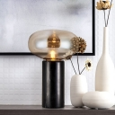 Amber Glass Oblong Table Light Modern 1 Bulb Nightstand Lamp with Black Tube Marble Base