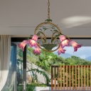 Morning Glory Metal Pendant Chandelier Pastoral 6/8/10 Heads Dining Room LED Suspension Light in Brass