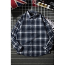Leisure Guys' Long Sleeve Lapel Neck Button Down Checkered Pattern Loose Fit Shirt in Navy
