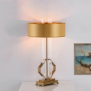 Crystal Tubular Task Lighting Contemporary 1 Bulb Gold Nightstand Lamp with Metal Base