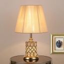 Cylinder Desk Light Contemporary Beveled Crystal 1 Bulb Night Table Lamp in Gold