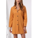 Orange Formal Long Sleeve Lapel Neck Button Down Mini A-Line Shirt Work Dress for Women