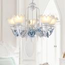 Traditional Floral Chandelier Light 3/5 Bulbs Metal LED Pendant Lighting in Blue for Living Room
