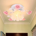 1 Head Ceiling Mounted Light Traditional Foyer Semi Mount Lighting with Floral Metal in White