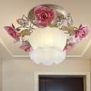 Rose Hallway Ceiling Lamp Vintage Metal 1 Bulb White Semi Flush Mount Light Fixture