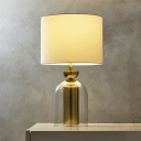 Contemporary 1 Head Task Lighting White Tube Night Table Lamp with Fabric Shade