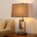 Contemporary Rectangle Table Light Fabric 1 Head Small Desk Lamp in Black and Gold