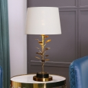 Flared Task Light Modern Fabric 1 Head Nightstand Lamp in White with Gold Metal Tree