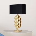 Contemporary 1 Head Table Light Black Rectangle Task Lighting with Fabric Shade