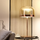 1 Bulb Cylindrical Task Lighting Modernist Cognac Glass Small Desk Lamp in Rose Gold