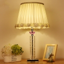 Contemporary Cylindrical Desk Light Clear Crystal 1 Bulb Night Table Lamp in White