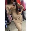 Elegant Stylish Ladies' Long Sleeve Mock Neck Knitted Midi Plain Sheath Dress