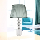 Grey Barrel Desk Light Modernism 1 Bulb Fabric Table Lamp with Clear Crystal Base