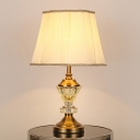 Fabric Shaded Table Light Modernist 1 Bulb Beige Small Desk Lamp for Dining Room