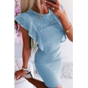 Trendy Women's Ruffled Sleeve Crew Neck Sheer Lace Panel Cut Out Back Mini Tight Dress in Blue
