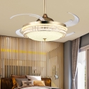 8 Blades LED Acrylic Semi Flush Light Modern Gold Round Living Room Hanging Fan Lamp, 48