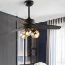 Black/White 3 Bulbs Hanging Fan Light Vintage Clear Glass Globe 3-Blade Semi Flush Lamp Fixture for Living Room, 42