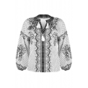 Women's Ethnic Blouson Sleeve V-Neck Floral Patterned Fringe Decoration Relaxed Fit Blouse