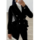 Trendy Ladies' Long Sleeve Shawl Collar Double Breated Ruffled Trim Fitted Plain Blazer