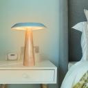 Saucer Metal Desk Lamp Modern LED Blue Reading Book Light with Tapered Wood Base