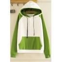 Unique Ladies' Long Sleeve Drawstring Color Block Pouch Pocket Relaxed Hoodie