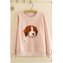 Stylish Women's Long Sleeve Round Neck Dog Flower Embroidered Relaxed Pullover Sweatshirt