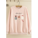 Basic Girls' Long Sleeve Crew Neck Dress Graphic Embroidery Relaxed Fit Pullover Sweatshirt