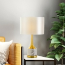 1 Head Bedroom Task Lighting Modern White Nightstand Lamp with Cylinder Fabric Shade