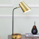 Contemporary 1 Head Task Lighting Gold Tapered Small Desk Lamp with Metal Shade